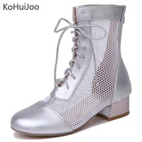 KoHuiJoo Big Size 33 45mesh Women Sandal Boots Square High Heels Lace Up Round Toe Hollow Out White Black Silver Ankle Boots