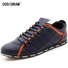 COSIDRAM Fashion Men Casual Shoes PU Leather Men Shoes New 2017 Autumn Rubber Sole Plaid Male Footwear For Men RME-262
