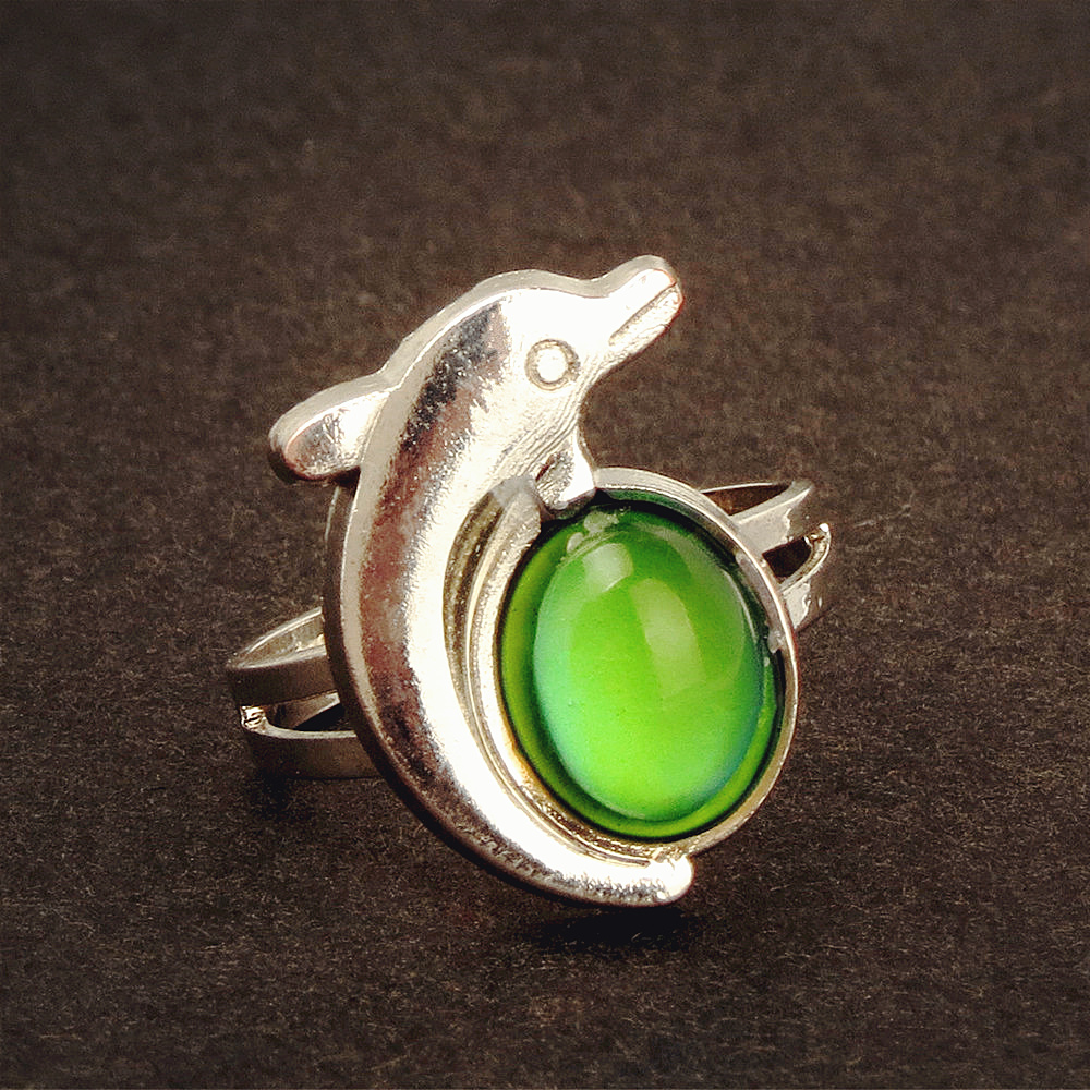 Women Dolphins gem change Color Mood ring change Color ring-in Rings ...