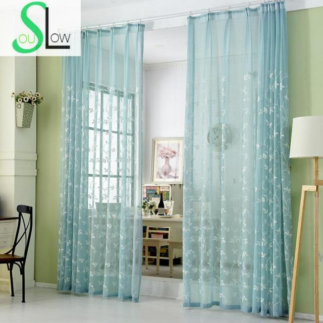 kitchen sheers designer faucets slow soul white blue floral french window embroidered curtains for living room cortinas tulle cotton curtain leaf