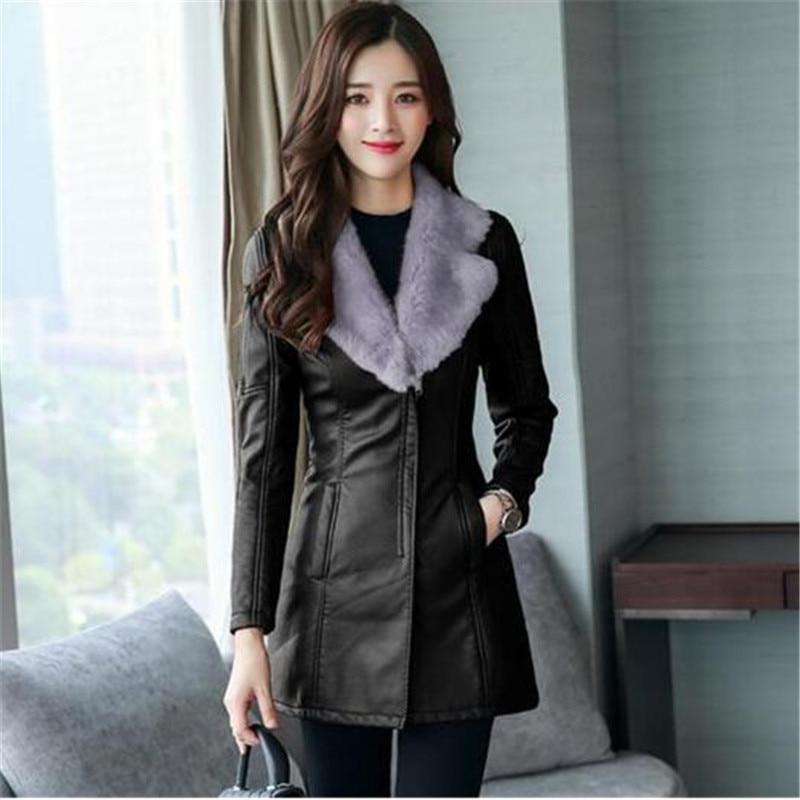Fur collar Leather Coat thick 2018 New Winter Warm Jacket Women PU Leather Coat Female Overcoat Plus Size 4XL