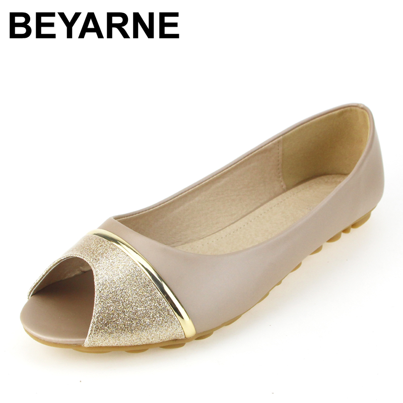 BEYARNE Flat comfortable soft bottom fish mouth sandals women fashion joker Non-slip peep-toe shoes big yards for women's shoes 2016 summer style transparent sandals white gauze flat point diamond women s sandals flat shoes non slip soft bottom shose