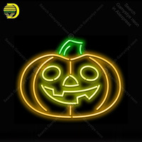 Neon znak Jack O Lantern znak światła Neon Neon żarówki znak wystrój sklepu neonowa lampa Halloween luminoso Atarii Dropshipping dla sprzedaż w Żarówki i oprawy neonowe od Lampy i oświetlenie na