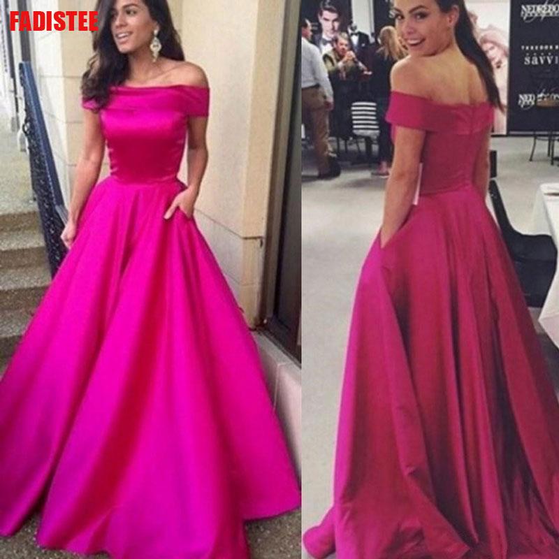 Off The Shoulder Long Dress Evening Dress Lace Robe De Soiree Longue Formal Dress Burgundy A line Simple Satin Pocket 2019