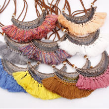2019 new necklace colorful multicolor fringed pendant fan shaped bohemian short retro jewelry