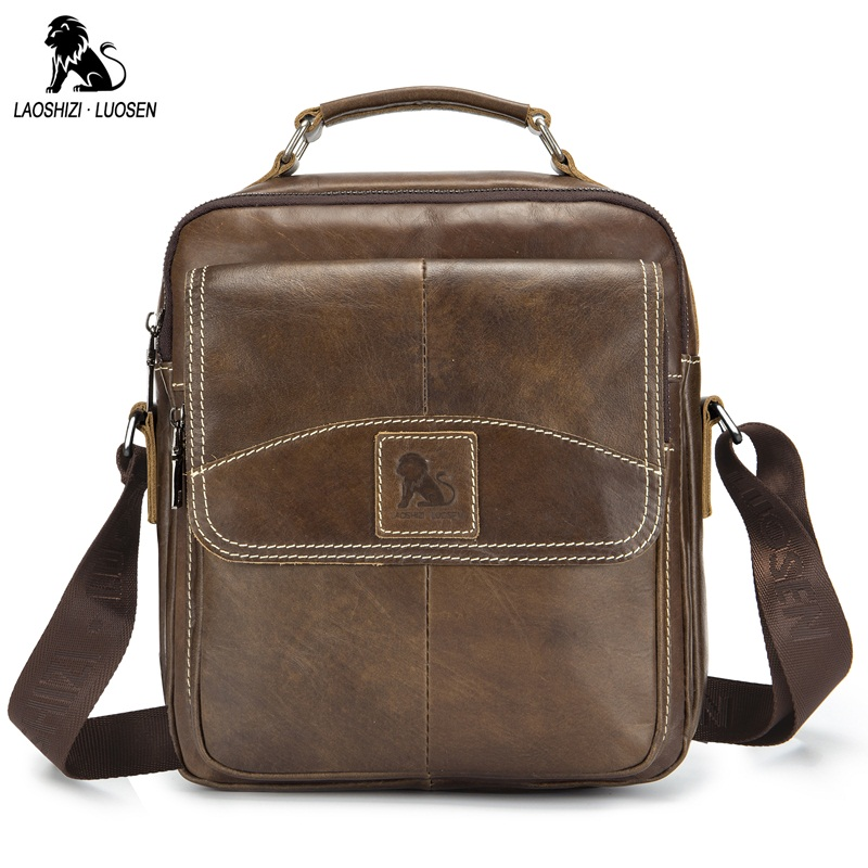 LAOSHIZI LUOSEN New Vintage Genuine Leather Men Bag Casual Business Travel Men's Shoulder Bags Handbag Cowhide Crossbody Bags