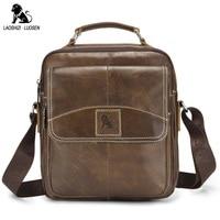 LAOSHIZI LUOSEN New Vintage Genuine Leather Men Bag Casual Business Travel Men S Shoulder Bags Handbag