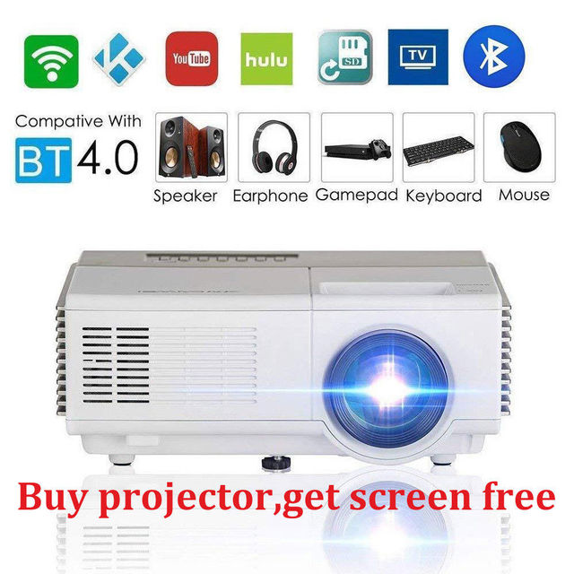 CAIWEI Smart Portable Mini LED Projector Android Wifi Home Cinema Video Beamer Mobile Proyector HD Bluetooth Wireless Sync