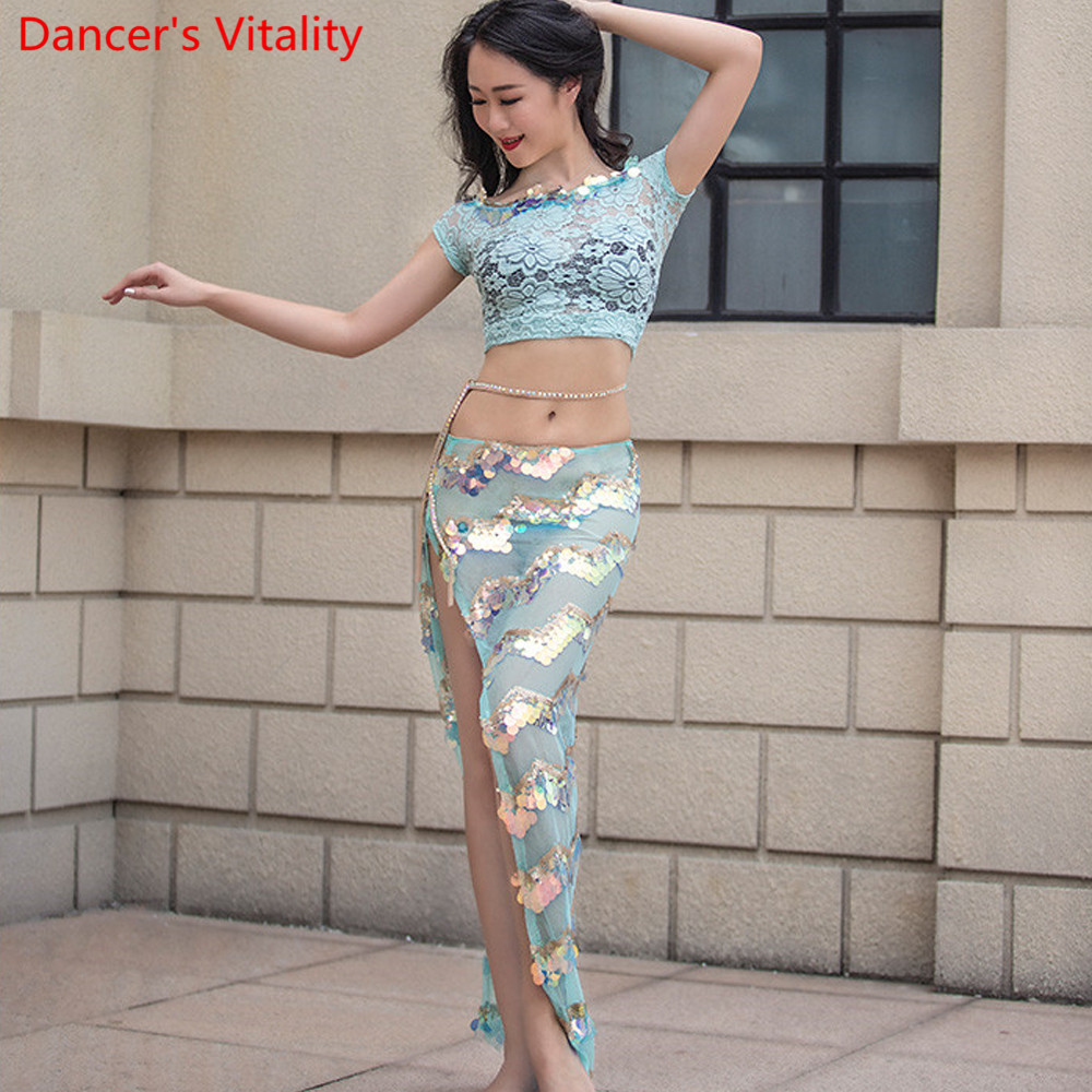 Summer Lace Women Belly Dance Wear Performance Performance Show 2 Piece Set (Top + Long Split Side Skirt Lace) Pink Mint Green