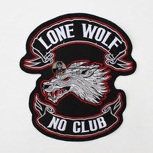 Large Lone Wolf Embroidery Patches for vest back nephy hart lone wolf