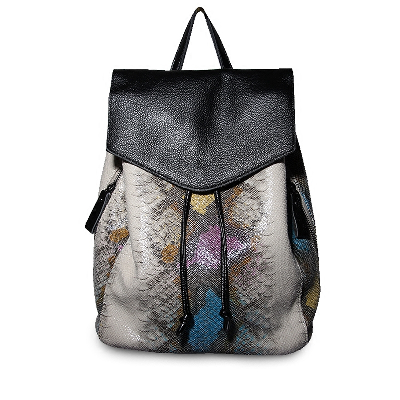 Fashion high quality Women backpack high quality artificial leather school bags female serpentine prints drawstring backpacks