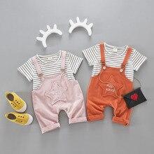 Active boys ladies units boy shorts Cartoon fits summer season quick sleeve striped T-shirt + star bib pants 2pieces informal clothes set