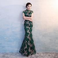 Green Long Lace Dress Traditional Chinese Dress Ladies Evening Dresses Vintage Cheongsam Brand Women Bride Modern Cheongsam