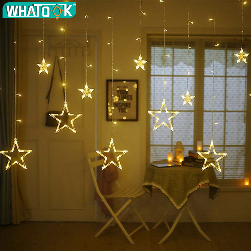 Us 12 99 35 Off 4 5m Star Curstain Led String Light 138 Leds Christmas Lights Decoration For Home Bedroom Window Birthday Party Holiday Lighting In