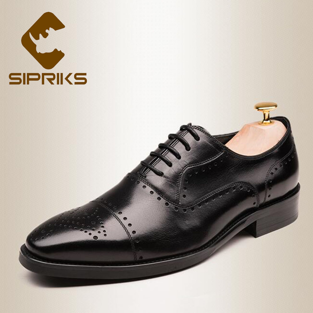 Sipriks Mens Genuine Leather Carved Oxfords Classic European Mens Dress Brogue Shoes Square Toe Suits Gents Business Work Shoes genuine leather mens derby shoes classic oxfords wedding dress shoes business formal brogue round toe carved us6 0 10 plus size