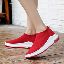 2018 New Styles Comfortable Walking Shoes for Women Female Breathable Slip On Sock Shoe Flywire Stripes Designs Woman Sneakers