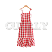 CUERLY women plaid midi dress checkered sleeveless backless straps irregular female casual dresses vestidos 2019
