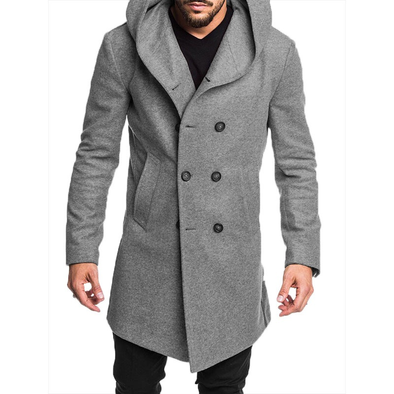 ZOGAA Hot 2019 New Style Fashion Hot Winter Warm Men's Solid Button with Pocket British Style Woolen Casual   Trench   Overcoat Long