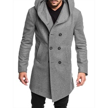ZOGAA Hot 2019 New Style Fashion Winter Warm Mens Solid Button with Pocket British Woolen Casual Trench Overcoat Long