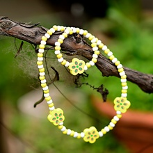 TopHanqi, 1 комплект, Детские ювелирные наборы, Желтый Деревянный милый цветочный узор, ожерелье и браслет для девочек, подарок на день рождения