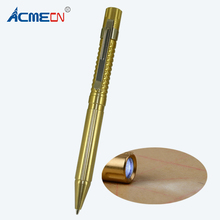 ACMECN Gold Brass Ball Pen with LED Torch Unisex Outdoor Camping Pocket Carving Pattern Multi-function Ballpoint