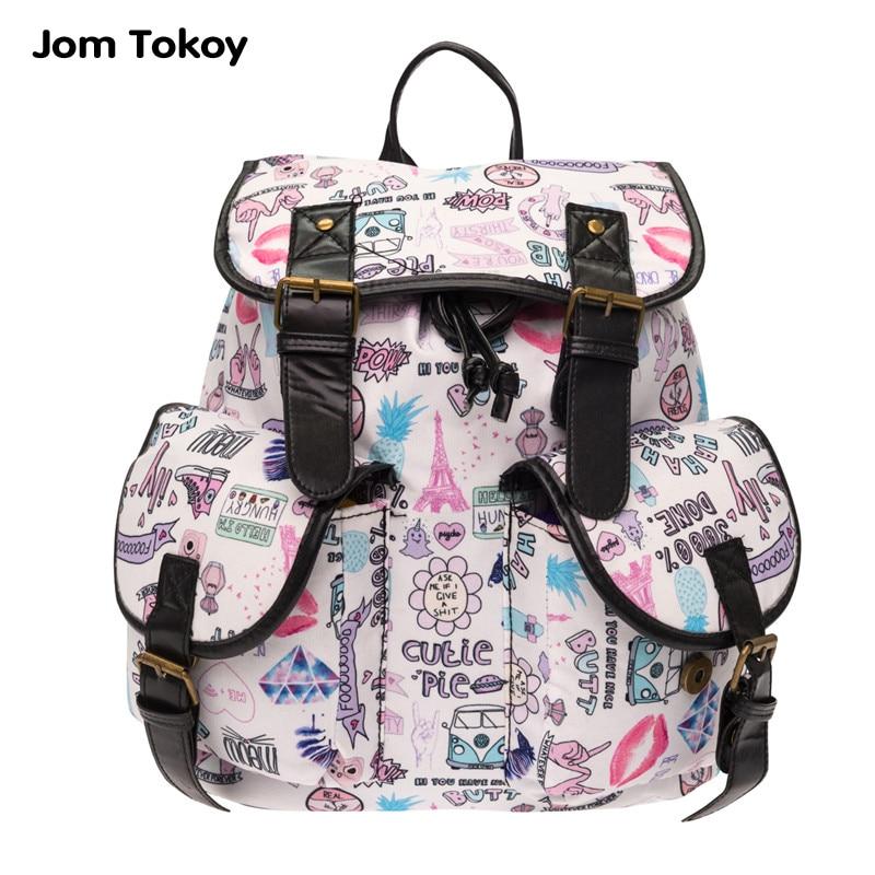 Jom tokoy Women Backpack Mujer Mochila Escolar Feminina Girls School Bag fashion Rucksack Printing Canvas