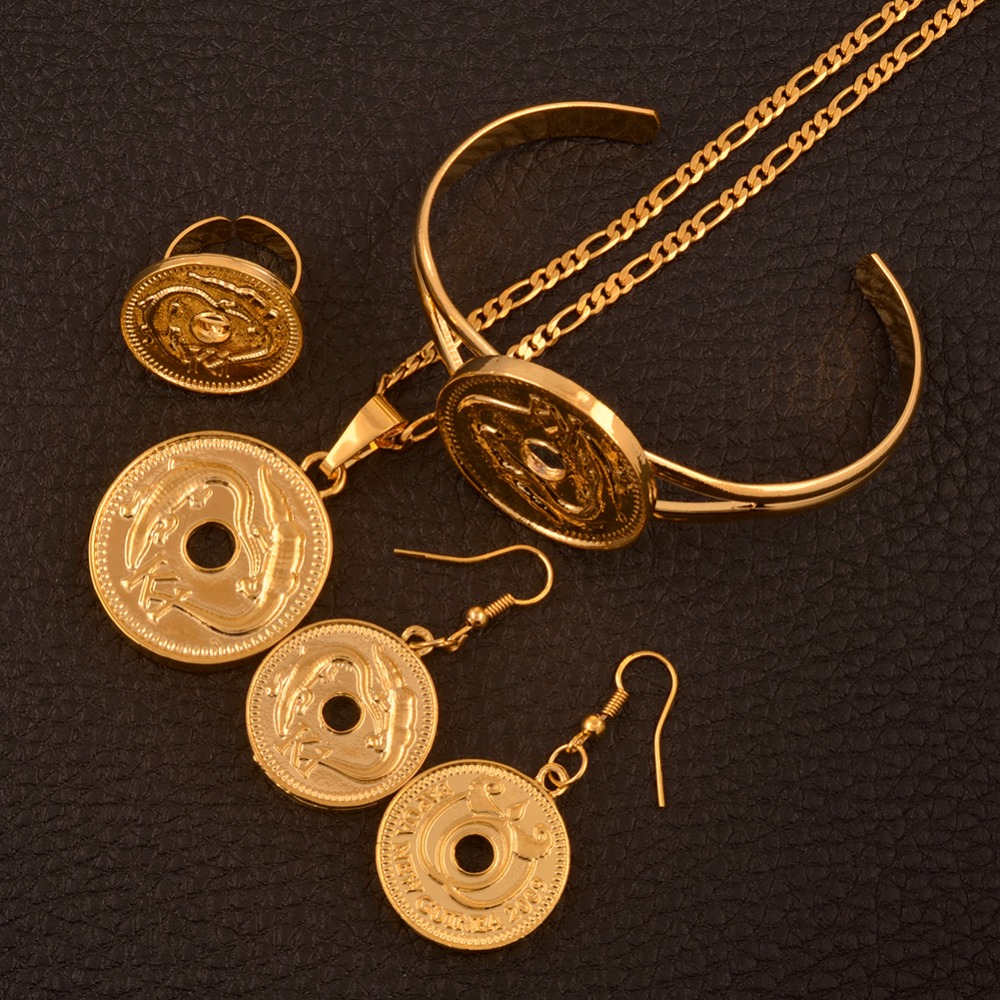 Anniyo Gold Color K1 Coin Pendant Necklaces Earrings Bangle Ring,Papua New Guinea Jewelry PNG Wedding Gifts #107406