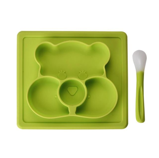 Children's Hamster Shaped Silicone Plate with Spoon