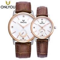 Onlyou пара Часы Элитный бренд кварцевые наручные Часы коричневый/розовое золото Ретро Алмаз Водонепроницаемый Для мужчин Для женщин кожаный