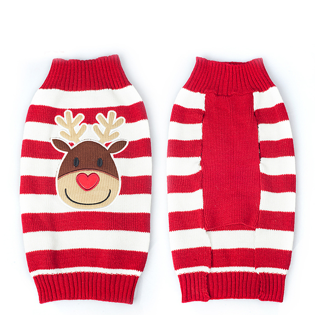 Xmas Reindeer Design Lovely Puppy Pet Cat Dog Sweater Knitted Coat