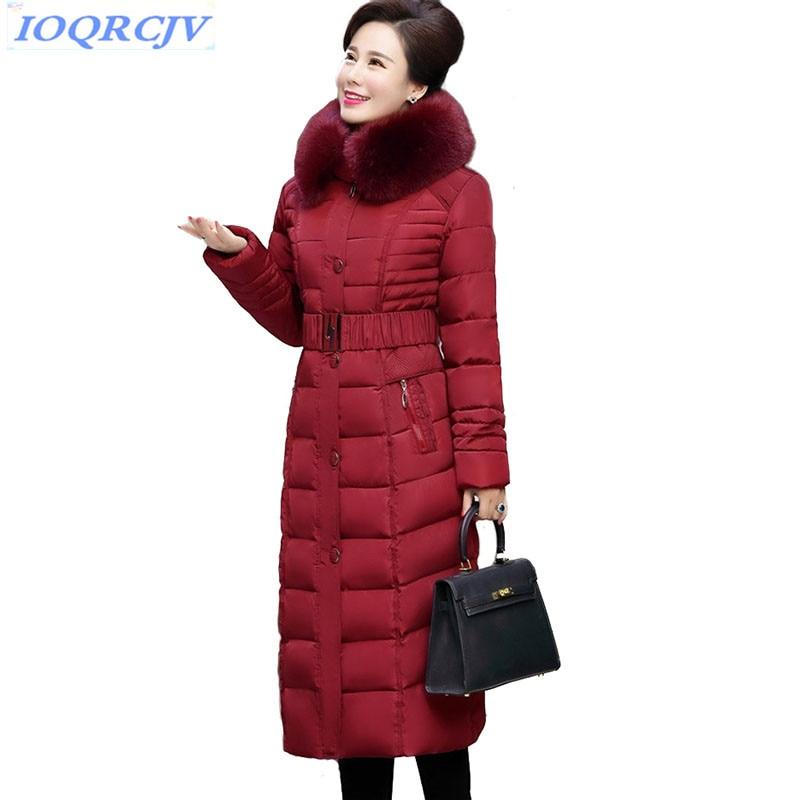 New winter parkas women Down cotton jacket Lengthen coat Plus size 5XL middle aged female Thicken
