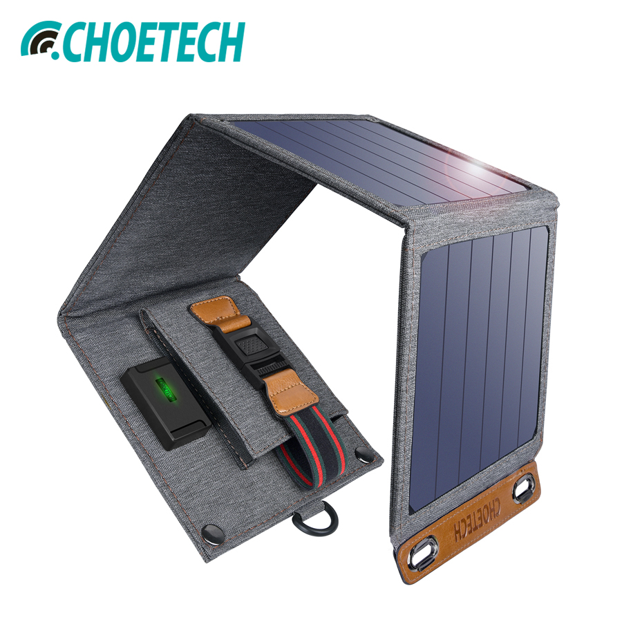 CHOETECH Solar Charger 14W USB Foldable Phone Travel Charger With SunPower Solar Panel Waterproof For iPhone X/8/7/6s/PlusCHOETECH Solar Charger 14W USB Foldable Phone Travel Charger With SunPower Solar Panel Waterproof For iPhone X/8/7/6s/Plus