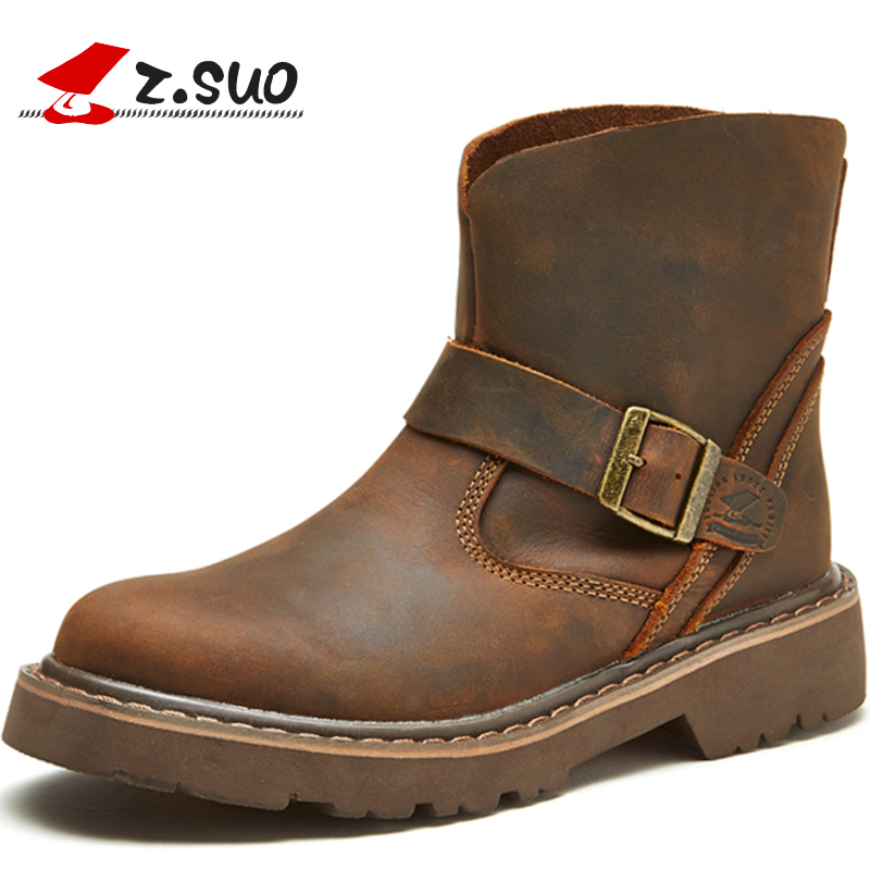 Z.Suo Fashion Winter men shoes Genuine Leather boots Breathable/Comfortable British Style men's Casual Martin shoes 2017 new spring british retro men shoes breathable sneaker fashion boots men casual shoes handmade fashion comfortable breathabl