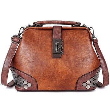 Bolso de las mujeres cuero pequeño bolso Doctor en piel bolso de las mujeres bolsa de hombro mujer, bolso cerradura cadena remaches Vintage de las niñas, bolsos de las mujeres
