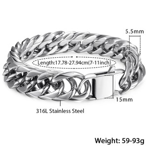 Image 4 - Davieslee 15mm Mens Bracelet Silver Color Curb Cuban Link 316L Stainless Steel Wristband Male Jewelry DLHB289