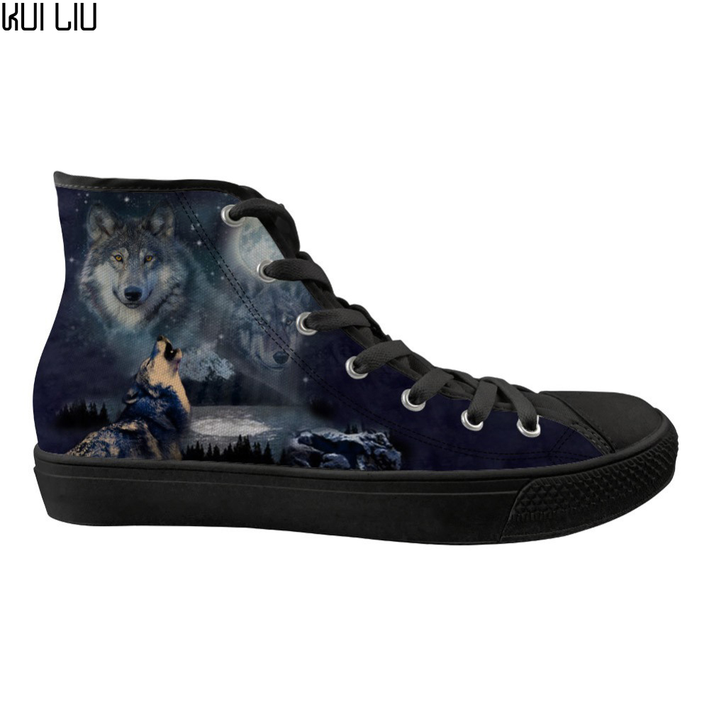 Customized Wolf Printing Men High top Canvas Vulcanized Shoes for Male Breathable Lace up Casual Sneakers