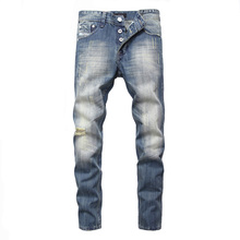 Balplein Brand Men Jeans Slim Fit Retro Blue Color Ripped Jeans Cotton Denim Buttons Pants Fashion Streetwear Biker Jeans Men dsel brand men s jeans high quality blue color denim stripe jeans mens pants buttons destroyed ripped jeans for men biker jeans