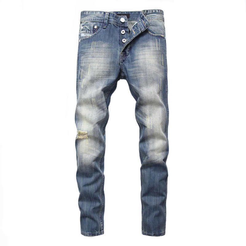 Balplein Брендовые мужские джинсы Slim Fit Ретро Синие рваные мужские хлопковые джинсы брюки на пуговицах модные уличные мужские байкерские джинсы