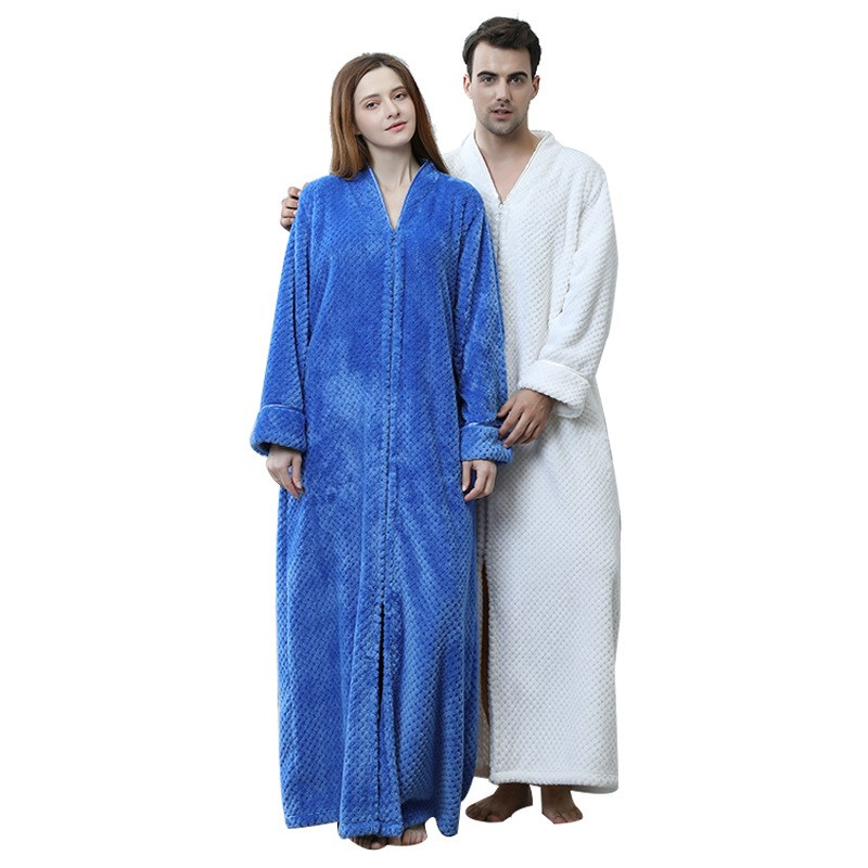 Lovers Thermal Extra Long Flannel Bathrobe Women Men Thick Warm Winter Kimono Bridesmaid Robes Dressing Gown