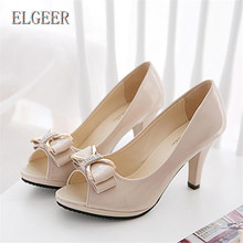 ELGEER 2018 summer new sandals female fine with high-heeled fish mouth sandals bow fashion Butterfly-knot women sandals 2017 summer korean version women wedges platform high heeled fashion network yarn fish mouth sandals female