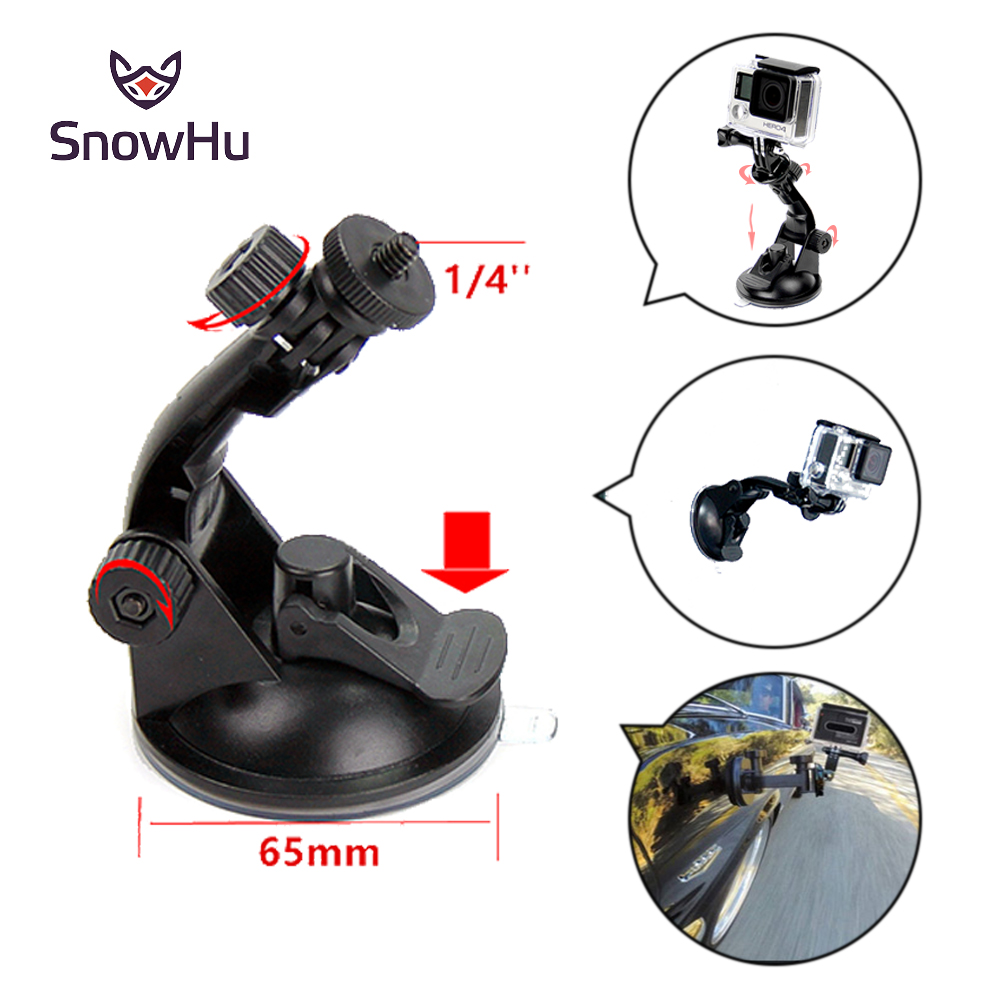SnowHu Car Suction Cup Adapter Window Glass Tripod For Gopro Hero 6 5 5S 4 3+ For sjcam Xiaomi yi Action Camera accessories GP61 3 suction cup car adapter holder for gopro hero 3 3 2 1 sj4000