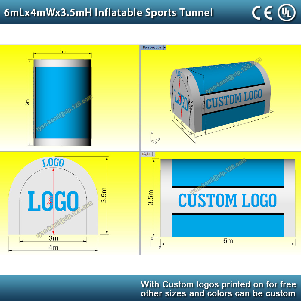 6mLx4mWx3.5mH Inflatable sports tunnel tent football soccer game inflatable tunnel tent for football team outdoor inflatable garage
