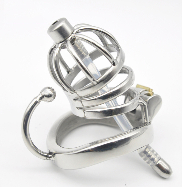 Stainless Steel Male Chastity Device Cock Cage Virginity Lock Penis Lock Cock Ring Chastity Belt C275