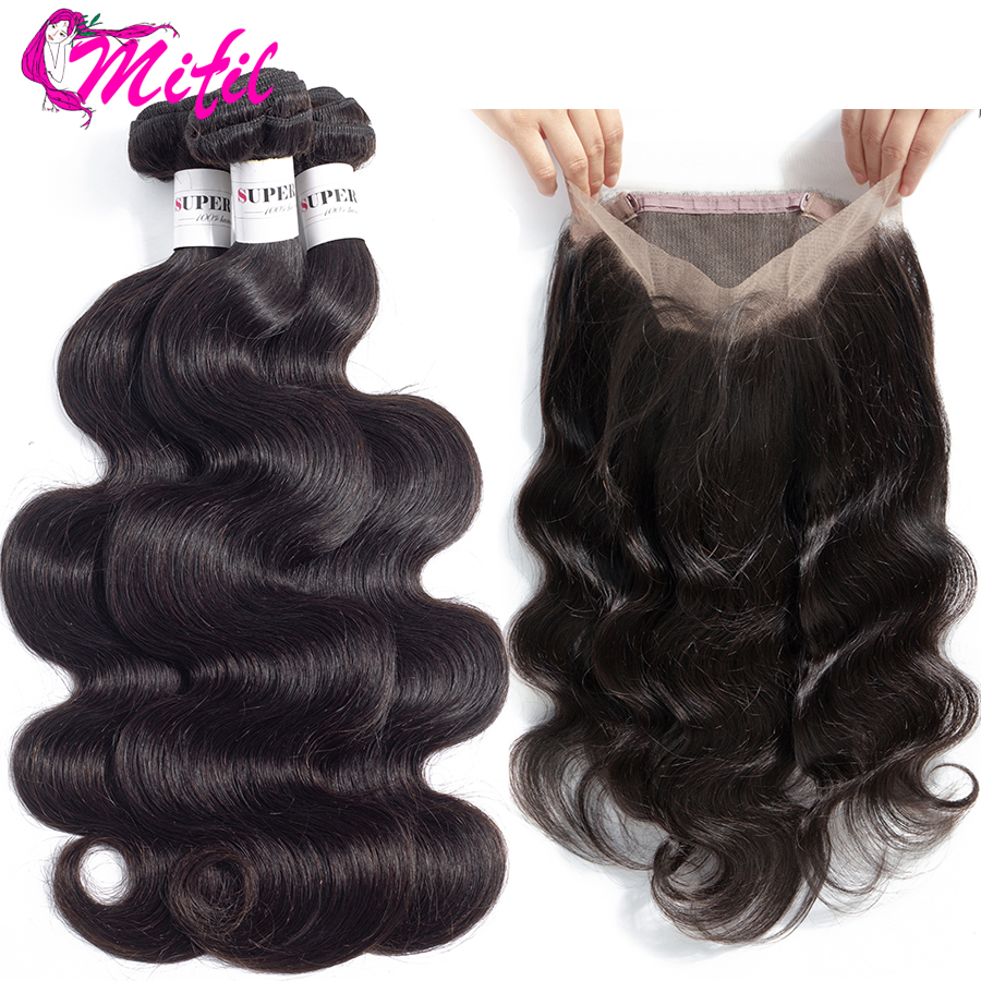 Mifil 360 Lace Frontal Closure With Bundles Malaysian Body Wave Non Remy Human Hair Bundles With