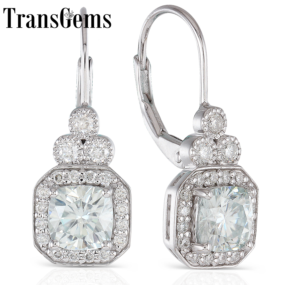 Transgems 2.64CTW Center 6X6mm Cushion Cut Halo Moissanite Hoop Earrings with Accents Platinum Plated Silver