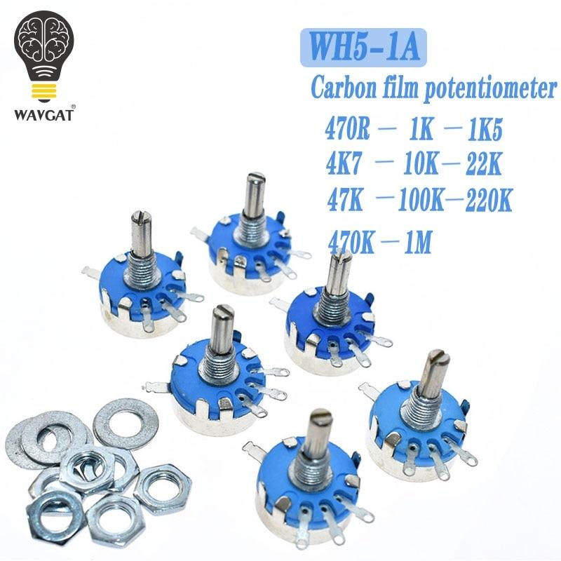 WH5-1A Carbon Potentiometer 1K 2K 10K 47K 4K7 470R 100K 470K 220K 1K5 22K 1M Ohm 3-Terminals Round Shaft Rotary Taper WH5