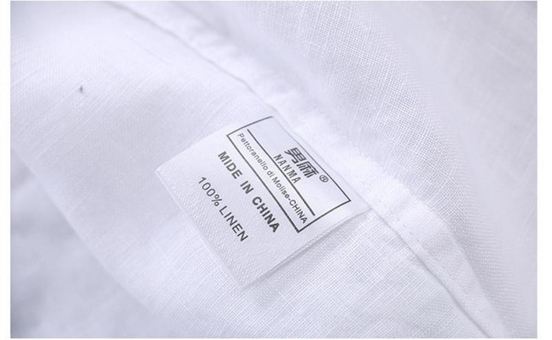 100% Lino Camisas azules de gama alta simples Hombres Lino de manga - Ropa de hombre - foto 4