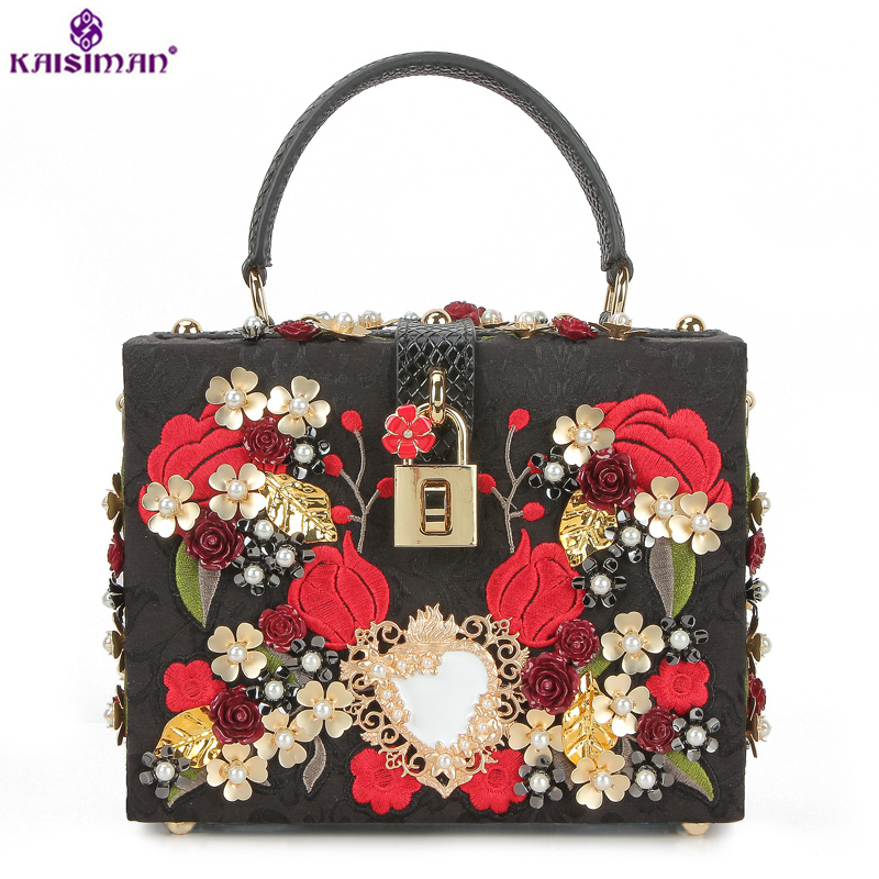 Goddess!Luxury Brand Rivet Lady Bag Genuine Cow Leather Messenger Bags Embroidery Flower Pearl Women Handbag Famous Designer Sac