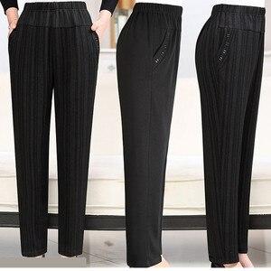 Image 4 - בגיל העמידה סבתא בתוספת קטיפה מכנסיים אופנה מזדמן רופף אלסטי מותניים נשים מכנסיים גודל גדול חם נשי חורף מכנסיים