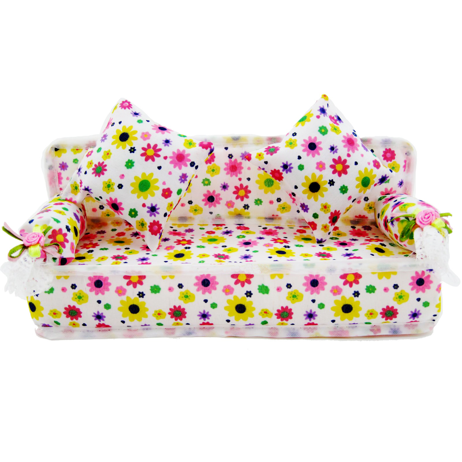 Free Shipping Cute Furniture Dollhouse Furniture Flower Cloth Sofa Couch With 2 Cushions For Barbie Doll DIY Accessories Toy